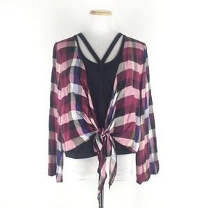 Very J Front Tie Check Blouse Size L